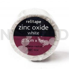 Ταινία Αυτοκόλλητη Στερέωσης Επιδέσμων Zinc Oxide 2.5cm x 5m του οίκου Reliance Medical Αγγλίας