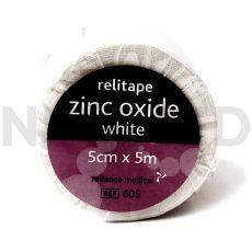 Ταινία Αυτοκόλλητη Στερέωσης Επιδέσμων Zinc Oxide 5cm x 5m του οίκου Reliance Medical Αγγλίας