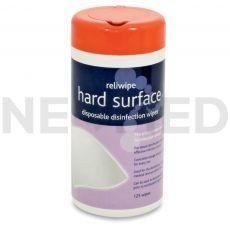 Απολυμαντικά Μαντηλάκια Καθαρισμού Επιφανειών Hard Surface σε δοχείο των 125 τεμαχίων του οίκου Reliance Medical Αγγλίας